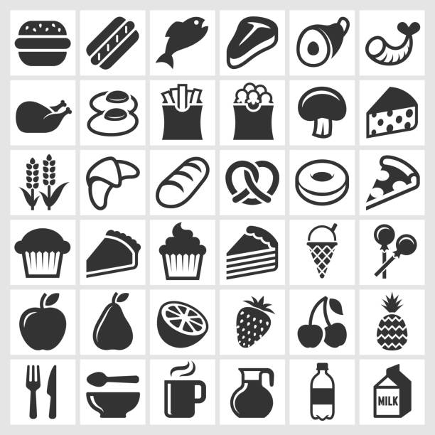 Food on Black and White royalty free vector icon set Food black and white icon set black and white food stock illustrations