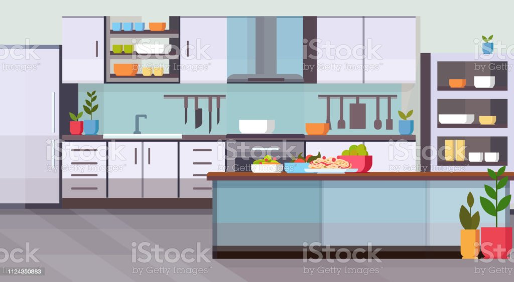 food on table modern kitchen interior design empty no people room...