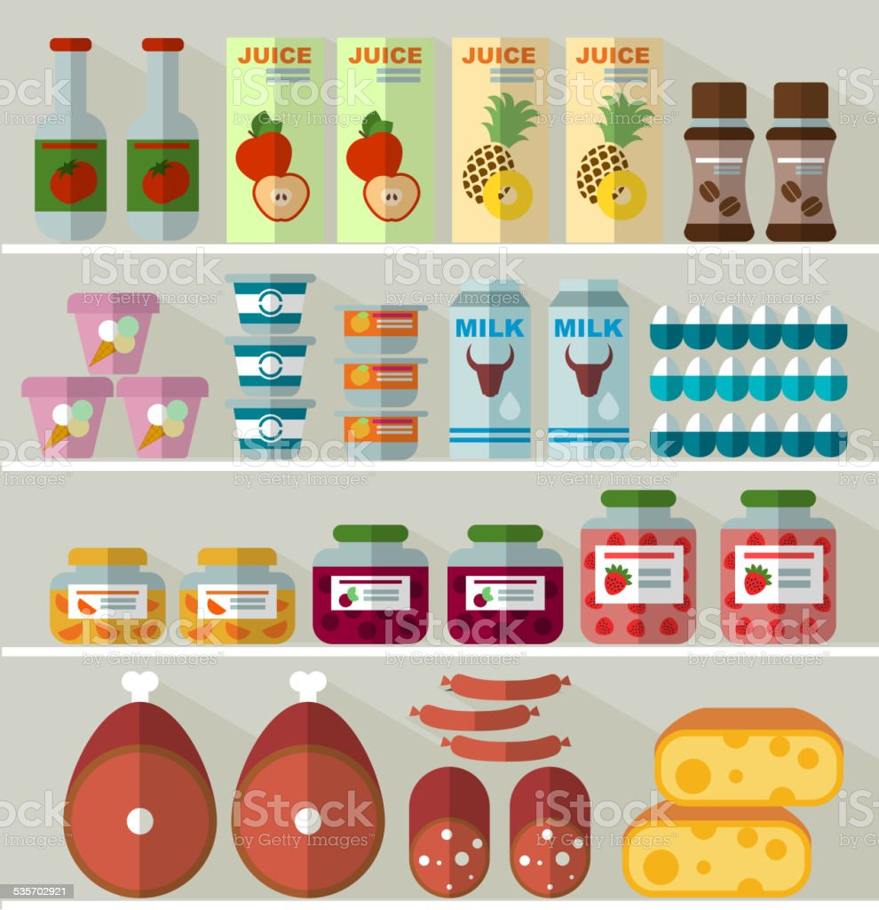 food on the shelves of the store vector art illustration