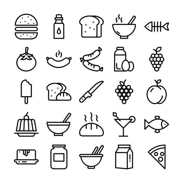 food pack der line icons - pflaumenkuchen stock-grafiken, -clipart, -cartoons und -symbole