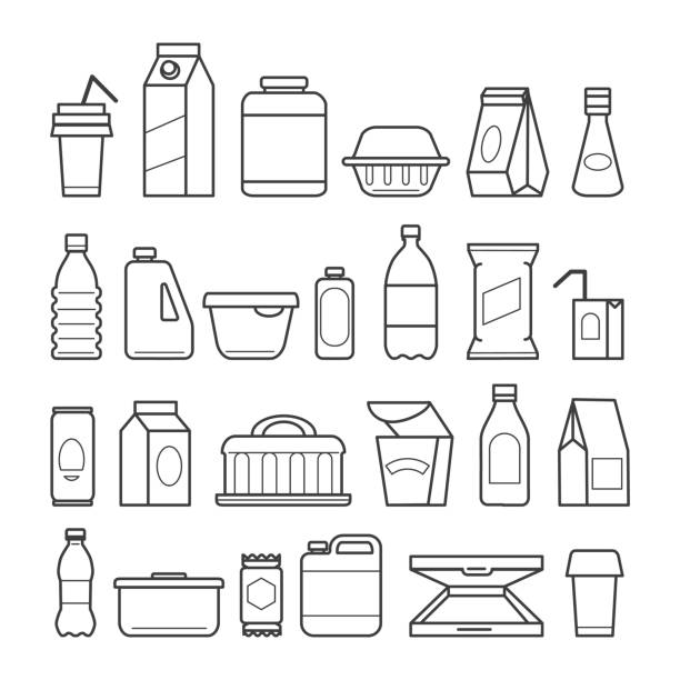 Food package line icons Food package icons. Meal packaging, eating packs, nutrition meat sachet cases and plastic beverage containers, paper pizza boxes, vector ilustration for sale stock illustrations