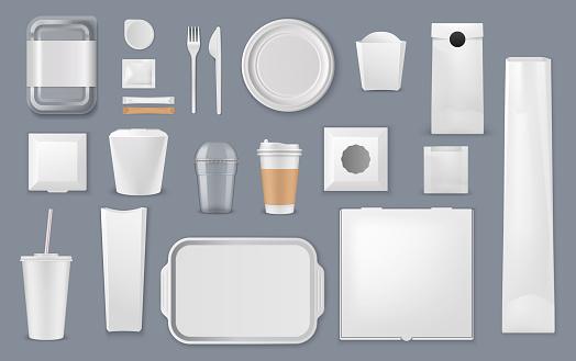 Food packaging box, bag and cup mockup templates