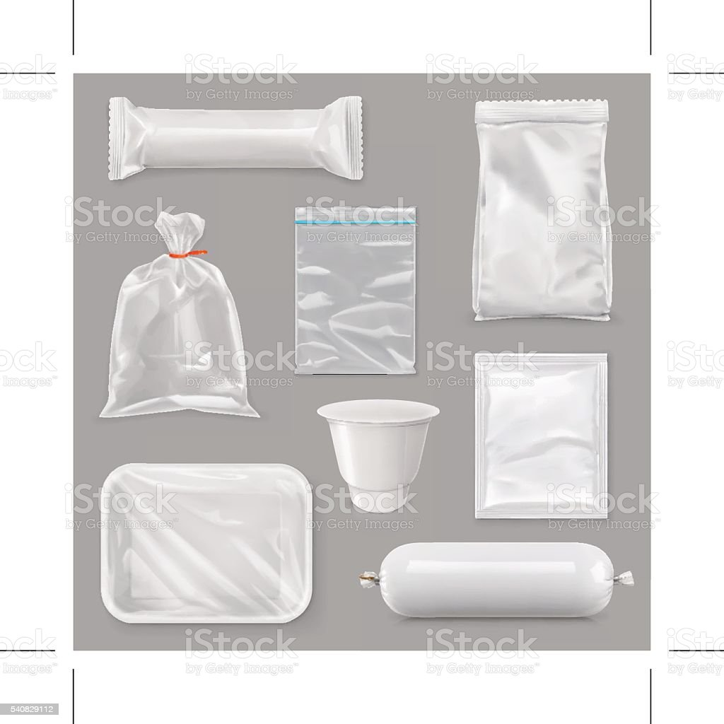 Food packaging for different snack products, vector set mock up vector art illustration
