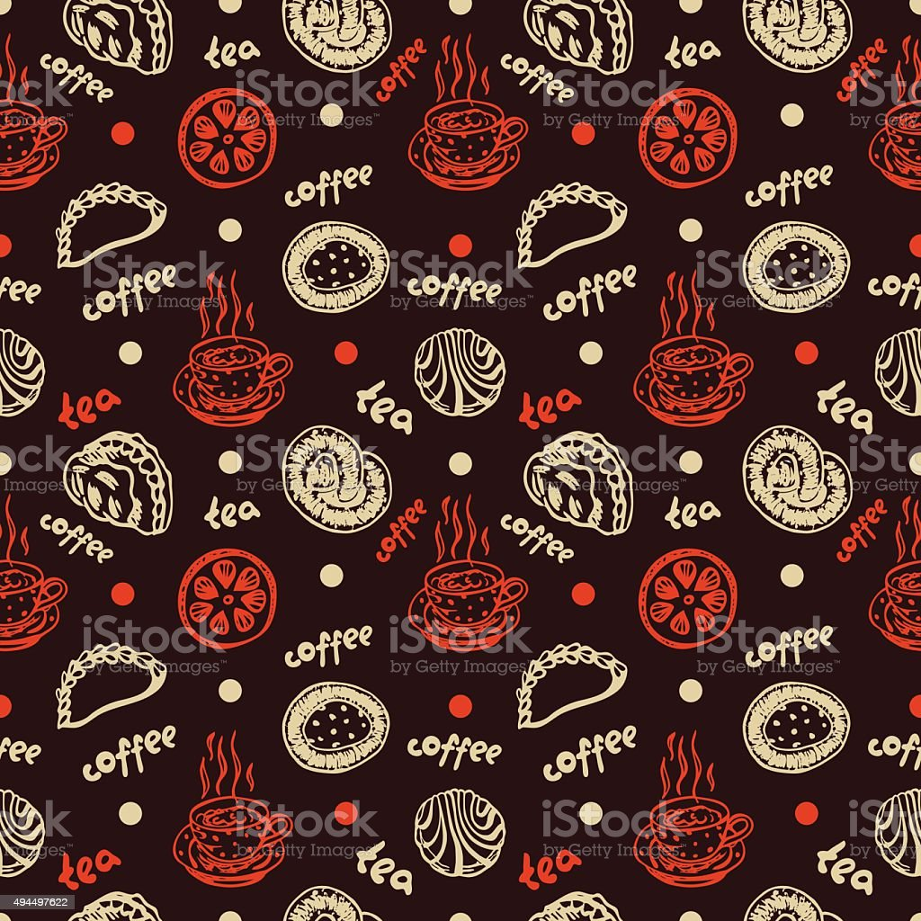 Food Pastry Seamless Pattern On Dark Background Stock ...