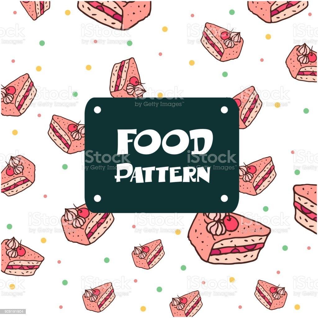 Essen Muster Kuchen Hintergrundbild Vektor Stock Vektor Art Und Mehr