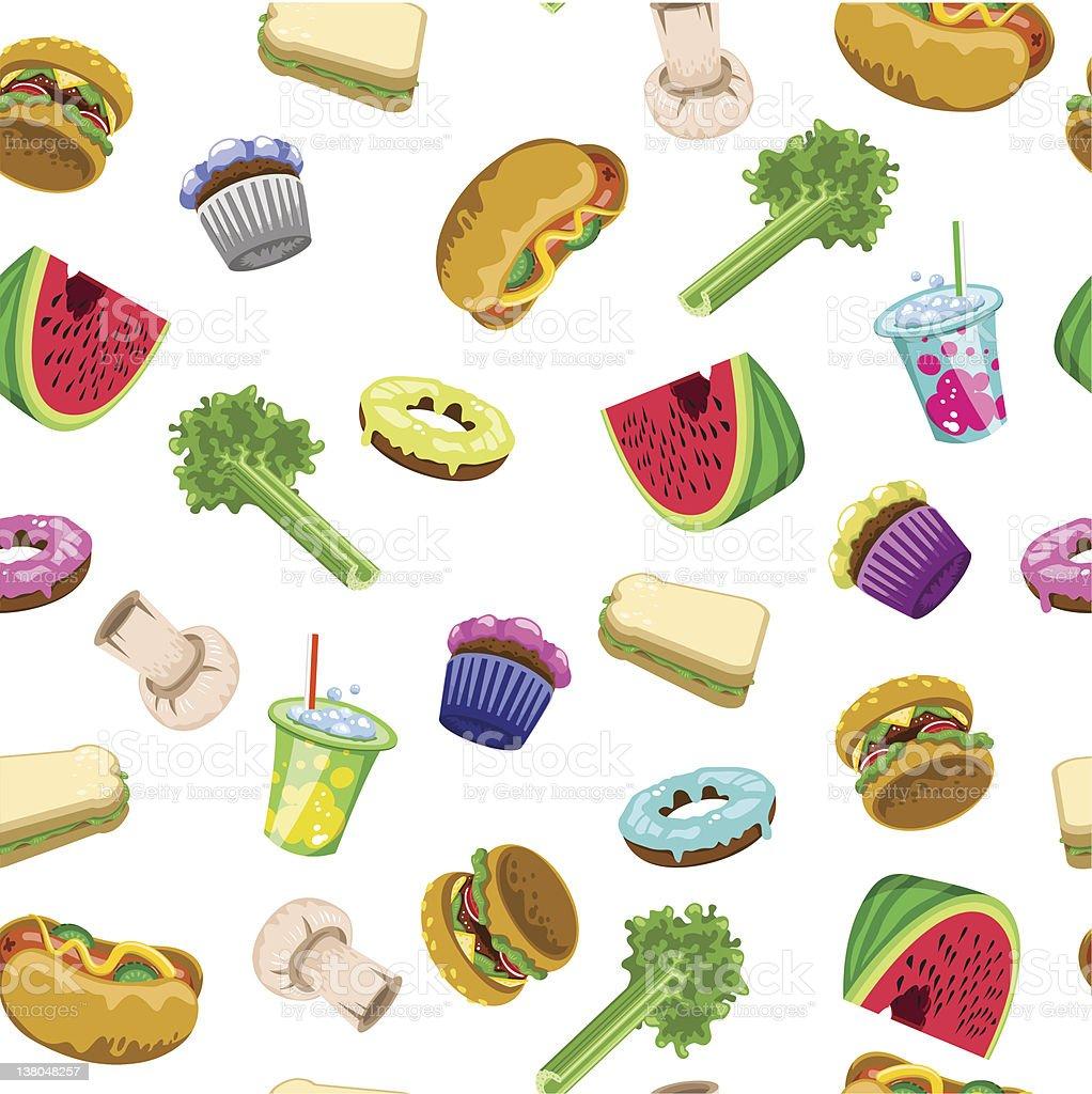 Food pattern lo-carb hi-carb (vector) vector art illustration