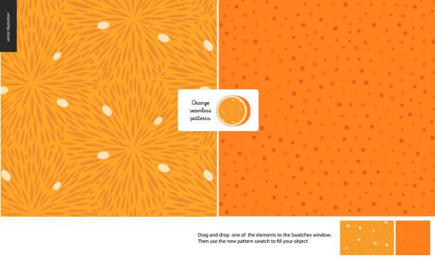 ilustraciones, imágenes clip art, dibujos animados e iconos de stock de patrones de comida, fruta, naranja - textura de pieles