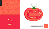 Food patterns, summer - vegetable fruit, tomato texture, small half of tomato image by the side - two seamless patterns of tomato fresh red pulp full of white redish seeds, on the red background
