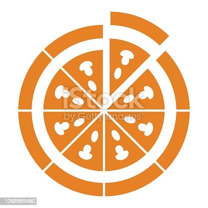 istock Food, pizza slice icon. Vector graphics 1268955480