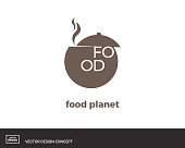 Saucepan logo template. Silhouette creative symbol. Universal icon. Restaurant, cafe sign. Design template for labels, badges, banners, posters, menu, recipes identity,branding. Vector illustration.