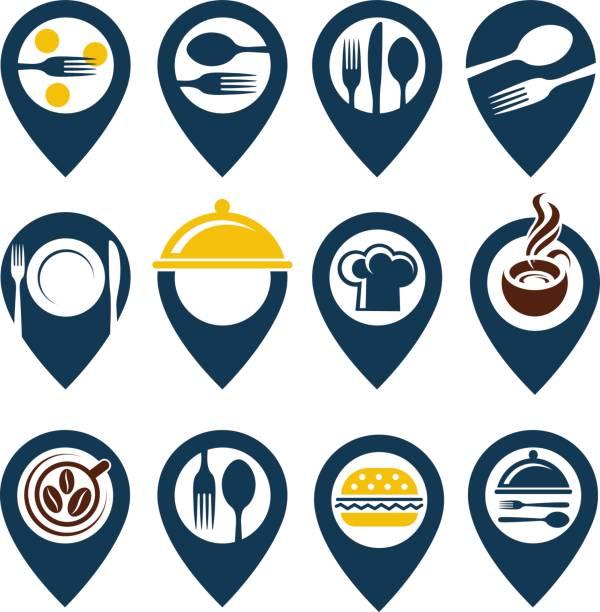 stockillustraties, clipart, cartoons en iconen met voedsel punt set - voedsel en drank serveren