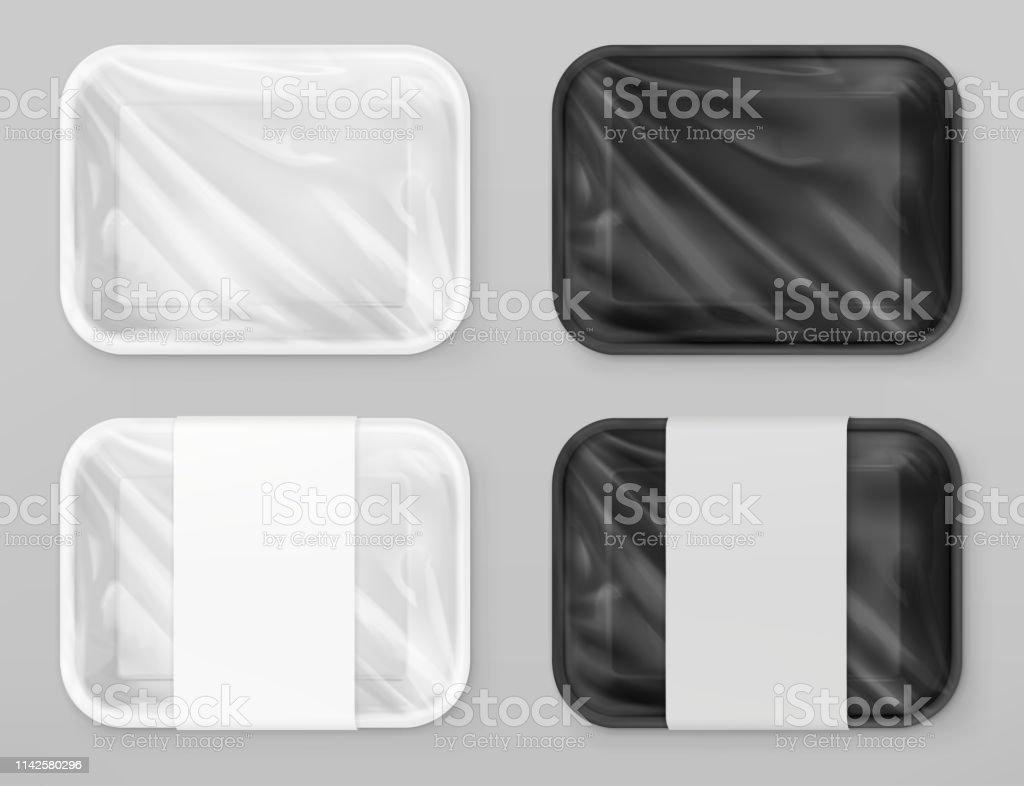 Voedsel polystyreen verpakking, wit en zwart. 3D vector realistische model - Royalty-free Advertentie vectorkunst