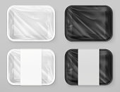 Food polystyrene packaging, White and black. 3d vector realistic mockup