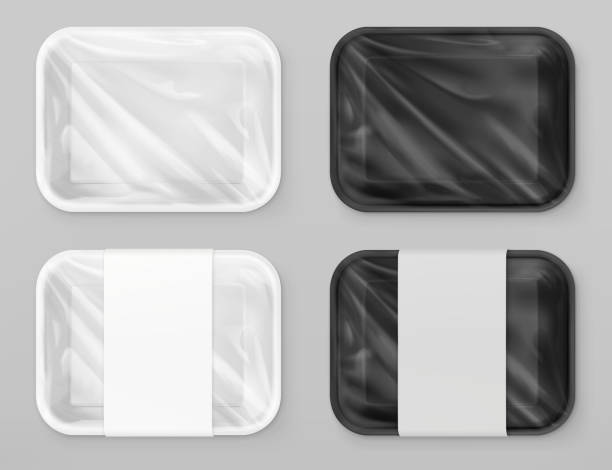 ilustrações de stock, clip art, desenhos animados e ícones de food polystyrene packaging, white and black. 3d vector realistic mockup - packaging