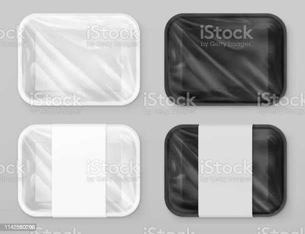 Voedsel Polystyreen Verpakking Wit En Zwart 3d Vector Realistische Model Stockvectorkunst en meer beelden van Advertentie