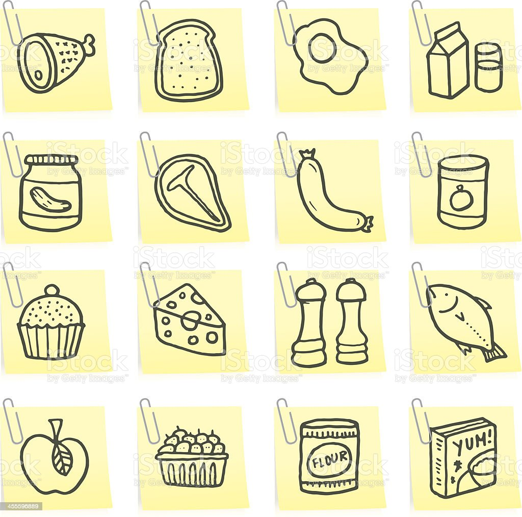 Food post it note icons vector art illustration