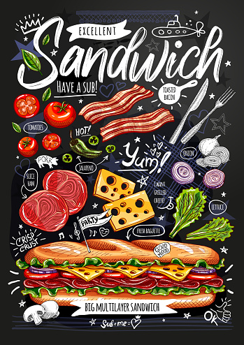 Food poster, ad, fast food, ingredients, menu, sandwich, sub, snack. Sliced veggies, cheese, ham, bacon. Yummy cartoon style isolated. Hand drew vector