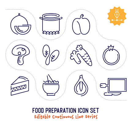 Food Preparation Editable Continuous Line Icon Pack