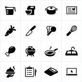 Icons related to food preparation and cooking. Cooking, kitchen equipment, food preparation, appliances.