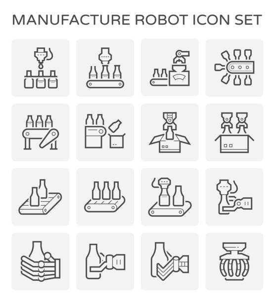 food processing icon Food processing and bottle icon set. manufacturing stock illustrations