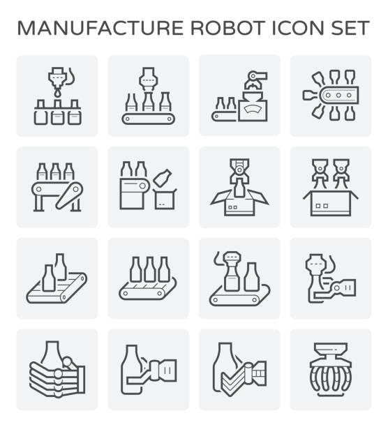 ilustraciones, imágenes clip art, dibujos animados e iconos de stock de icono de procesamiento de alimentos - manufacturing