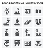 Food processing industry and production line inside factory vector icon.