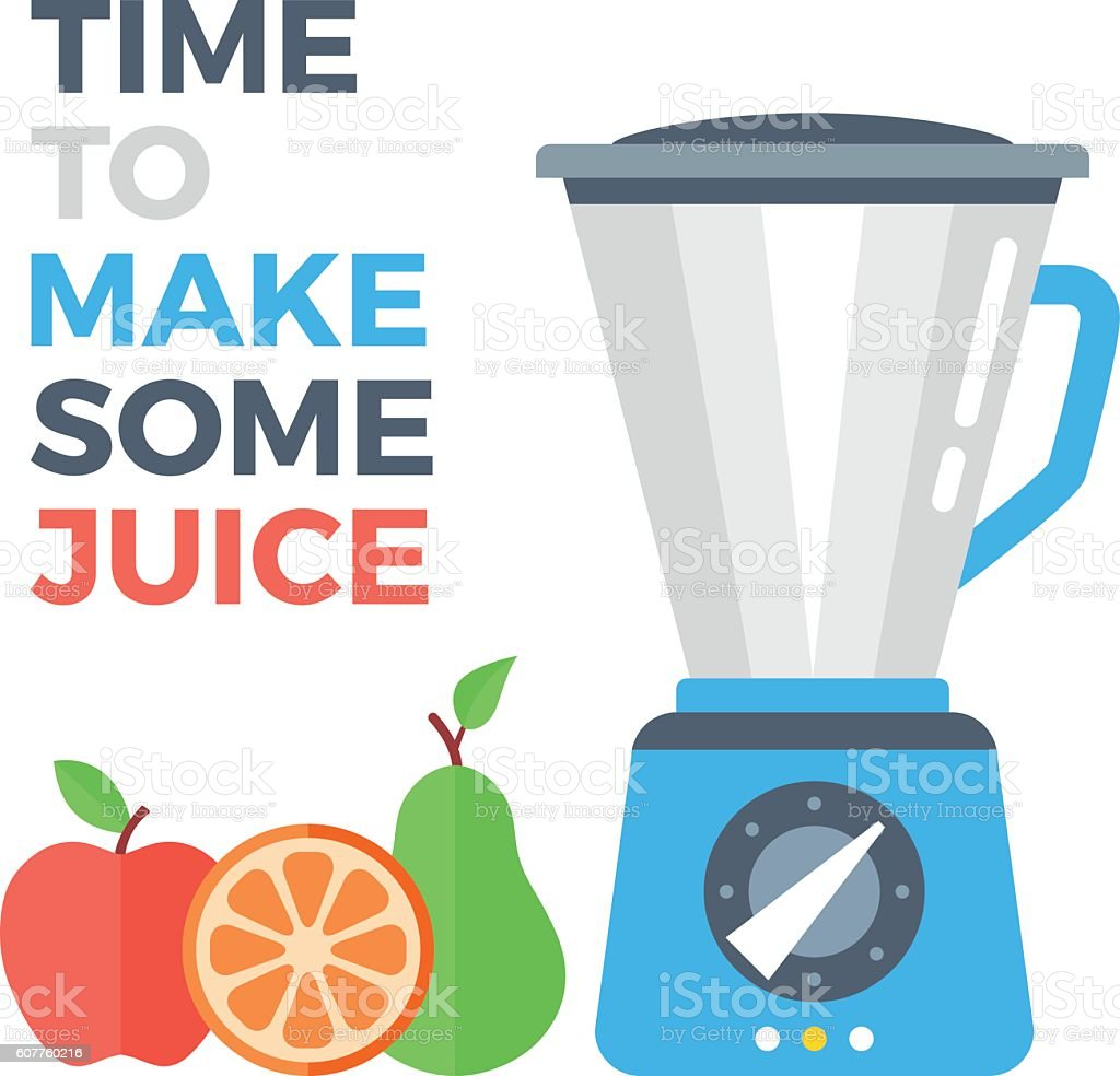 Food processor and fruits. Apple, orange and pear. Flat design vector art illustration
