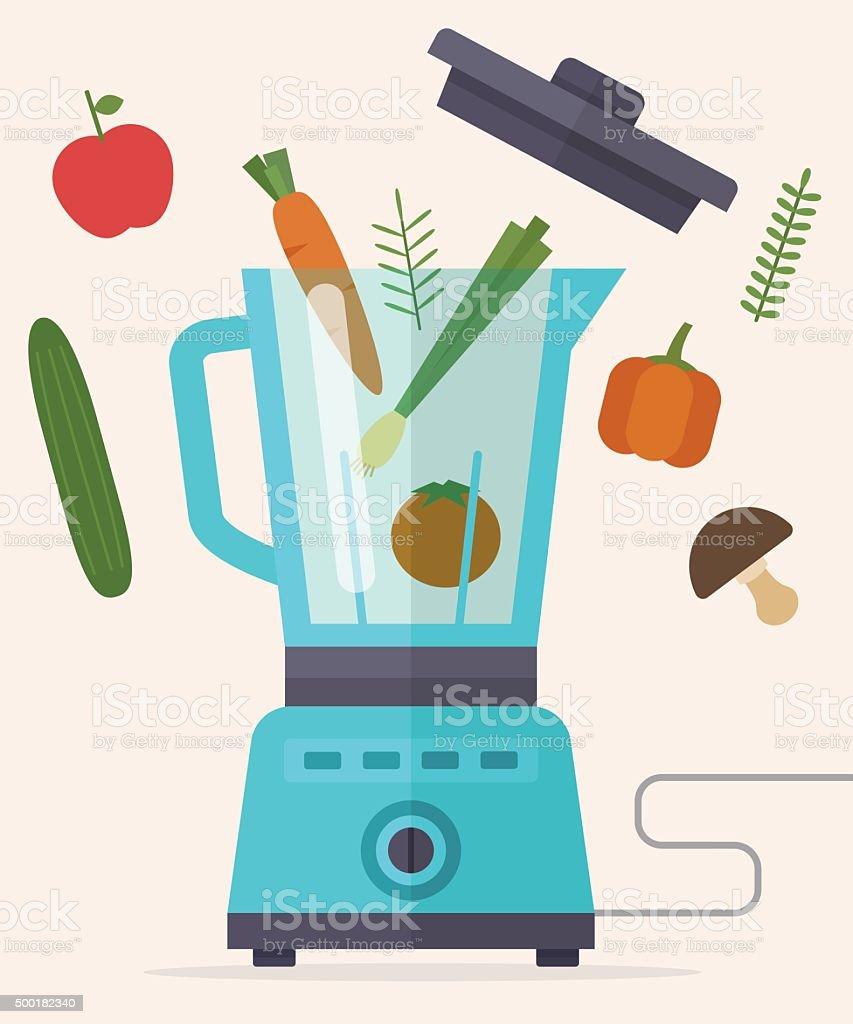 Food processor, mixer, blender and vegetables. vector art illustration