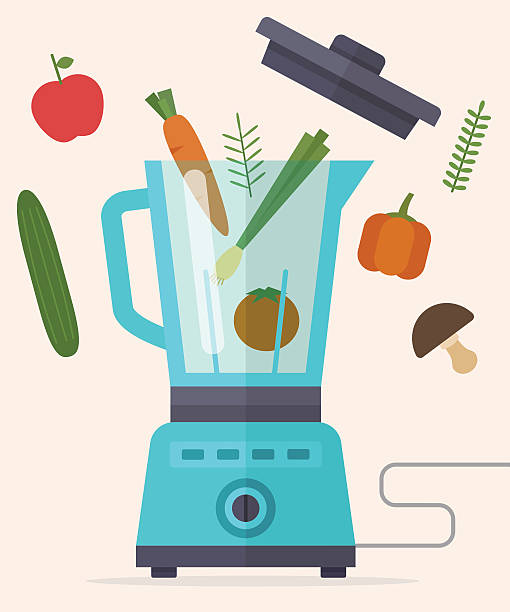 mixgerät, mixer, mixer und gemüse. - küchenmixer stock-grafiken, -clipart, -cartoons und -symbole
