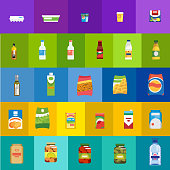 Food products and drinks flat vector icons set