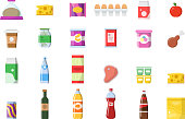 Food products. Grocery basket meat soft drinks macaroni cheese yogurt bread vector shopping collection isolated. Illustration of market food, loaf and macaroni, bottle of beer and juice