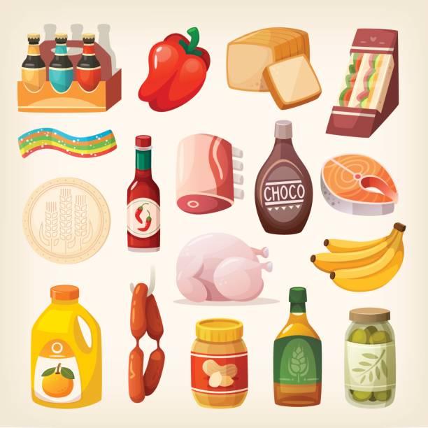 stockillustraties, clipart, cartoons en iconen met voedsel producten pictogrammen - chocoladesaus