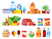 Food products. Packed cooking product, supermarket goods and canned food. Cookie jar, whipped cream and eggs pack. Supermarkets shopping, various vegetables flat vector isolated icons set