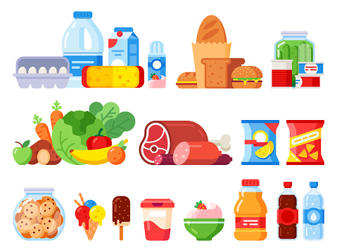 Food products. Packed cooking product, supermarket goods and canned food. Cookie jar, whipped cream and eggs pack flat vector icons clipart