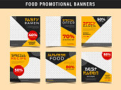 Square food banner collection