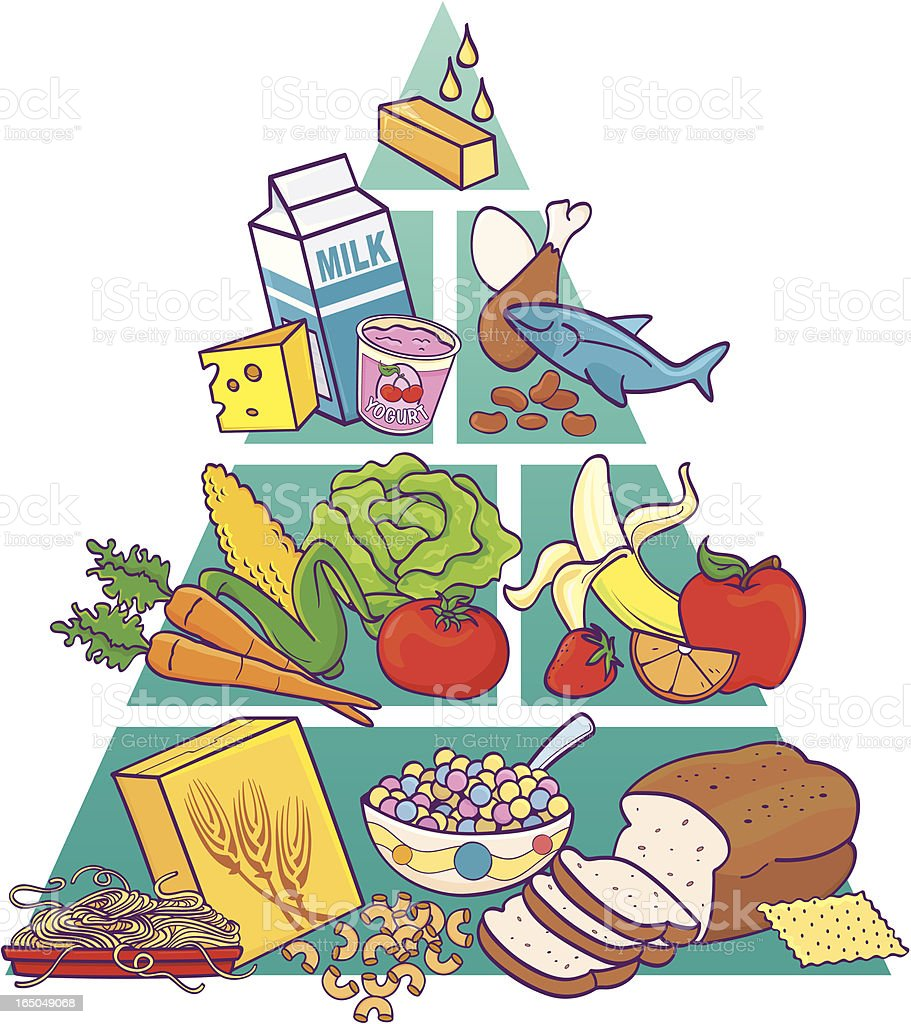 Food Pyramid In Color Stock Vector Art Amp More Images Of