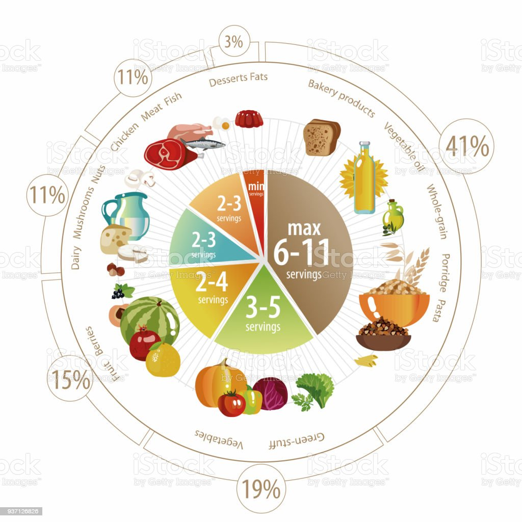 Food Pyramid Of Pie Chart Stock Vector Art More Images Of Advice