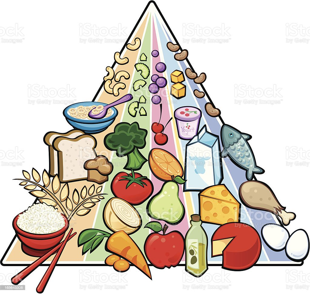 USDA Food Pyramid - outlined version royalty-free stock vector art