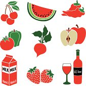 A vector illustration of food with a red color theme.