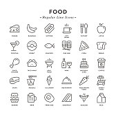 Food - Regular Line Icons - Vector EPS 10 File, Pixel Perfect 30 Icons.