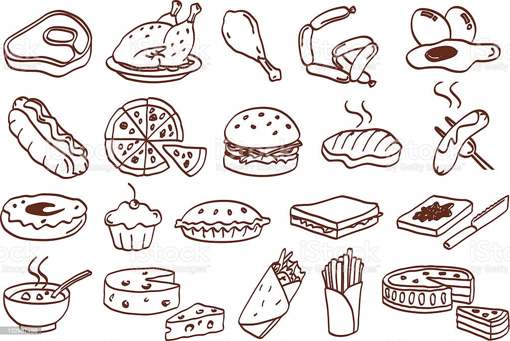 food related icon set vector art illustration