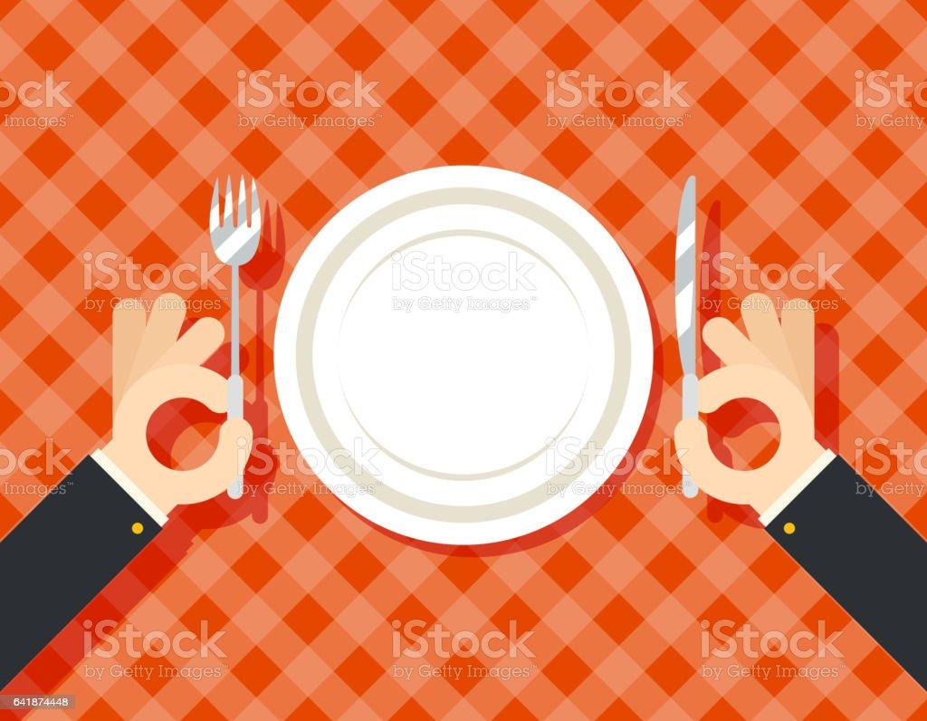 Food Restaurant Promotion Hands Cutlery Plate Fork and Knife oncept Symbol on Stylish Background Flat Design Vector Illustration vector art illustration