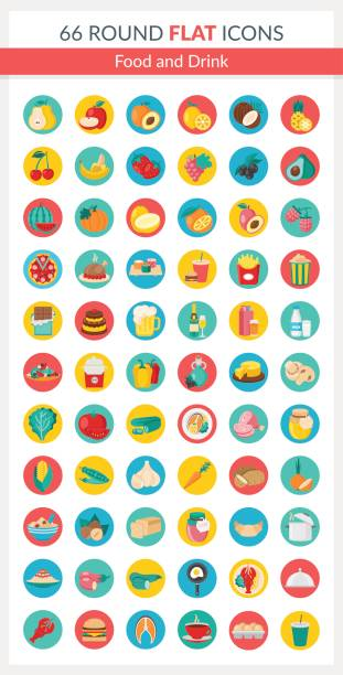Food Round Icons vector art illustration
