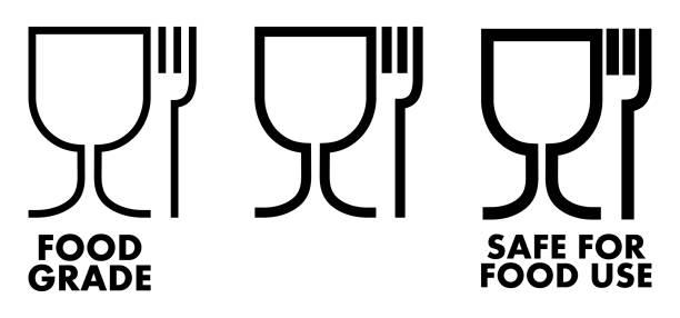 Food safe material sign. Wine glass and fork symbol meaning plastics is safe. vector art illustration