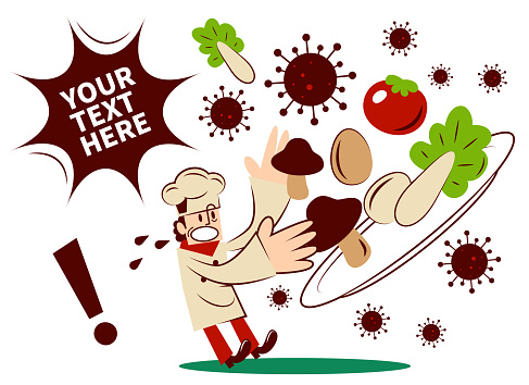 Food safety issue, chef found food unhygienic or contaminated by coronavirus (covid-19, bacterium, virus)