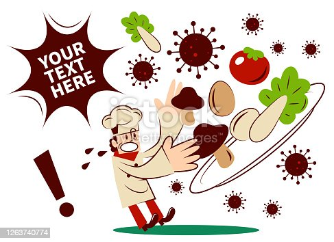 istock Food safety issue, chef found food unhygienic or contaminated by coronavirus (covid-19, bacterium, virus) 1263740774