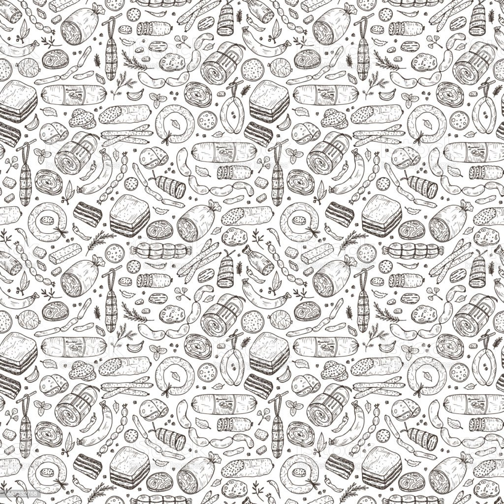 Food. Sausages Seamless pattern. Hand drawn doodle Meat products: Ready sausage, bacon, sliced saveloy, sausage, spicy pepperoni, smoked sausages, stick of salami, baked meatloaf, frankfurters vector art illustration