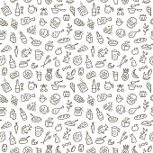 food seamless background with thin line icons