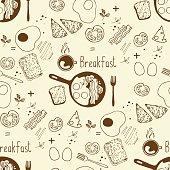 food seamless pattern, breakfast