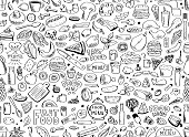 Food, seamless pattern. Vector illustration isolated on white background.